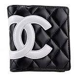 Chanel Quilted Wallet Black With White Logo